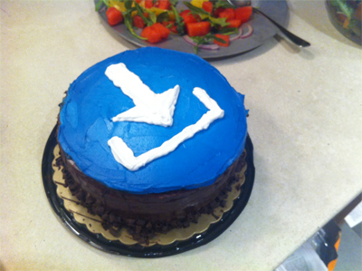 Blue Button Cake